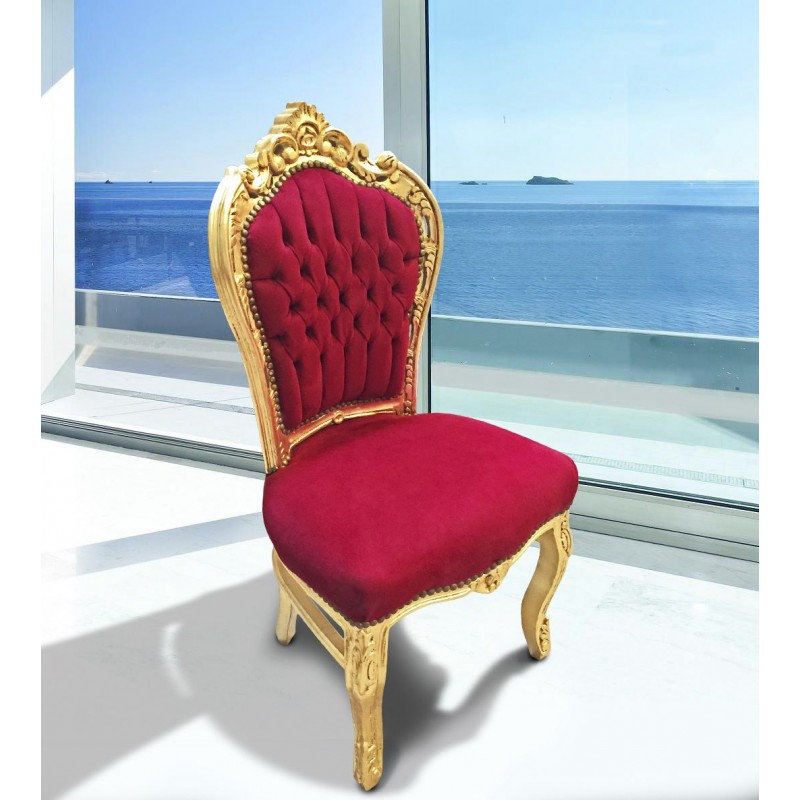 Chair Baroque Rococo Style Red Bordeaux And Gold Wood