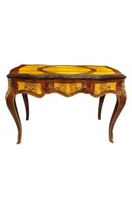Bureau de style Louis XV, 3 tiroirs avec marqueterie