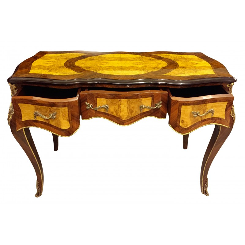 bureau de style louis xv 3 tiroirs avec marqueterie. Black Bedroom Furniture Sets. Home Design Ideas