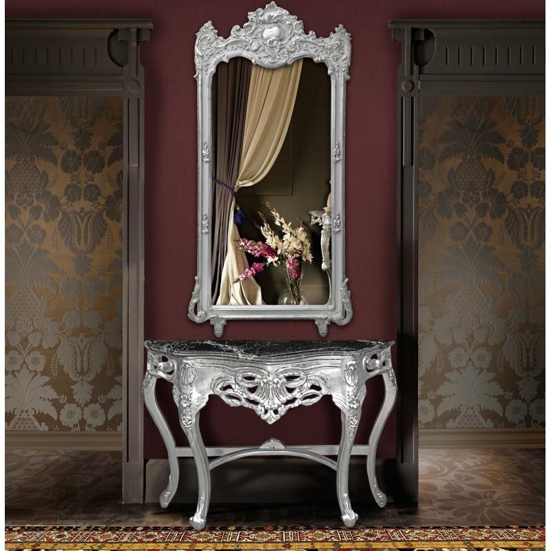 console de style baroque en bois argent et marbre noir. Black Bedroom Furniture Sets. Home Design Ideas