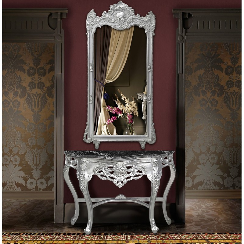 Grand miroir baroque rectangulaire argent for Grand miroir