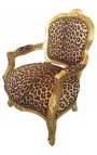 Baroque armchair for child leopard and gold wood