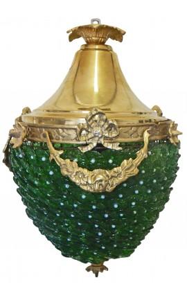 Lustre à pampilles en verre vertes avec bronzes