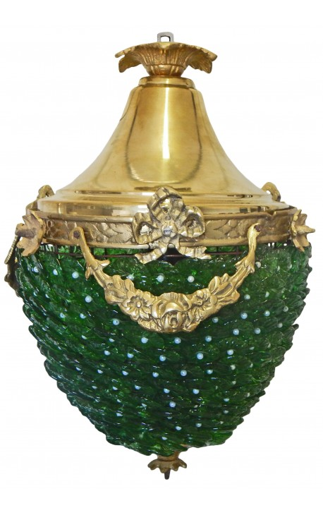Chandelier green glass with bronzes