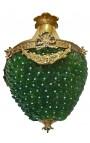 Lustre à pampilles verre vertes avec bronzes