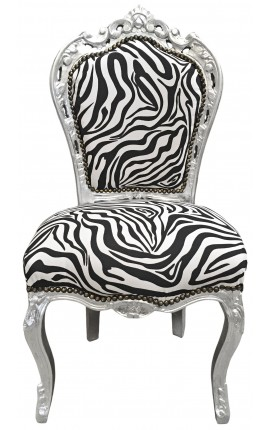 Baroque rococo style chair zebra fabric and silver wood