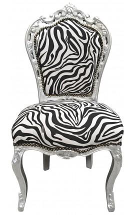 Chaise de style Baroque Rococo tissu zèbre et bois argenté
