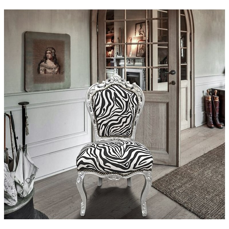 Chair Baroque Rococo Style Zebra And Silvered Wood