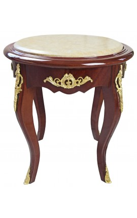 Nice round flower table Louis XV style mahogany and beige marble