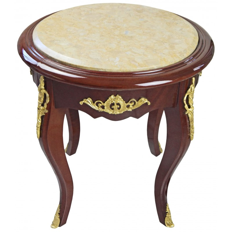 Nice round flower table louis xv style mahogany and beige for Nice table styles
