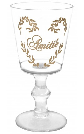 "Transparent glass decorations floral silkscreened inscription ""Amitié"""