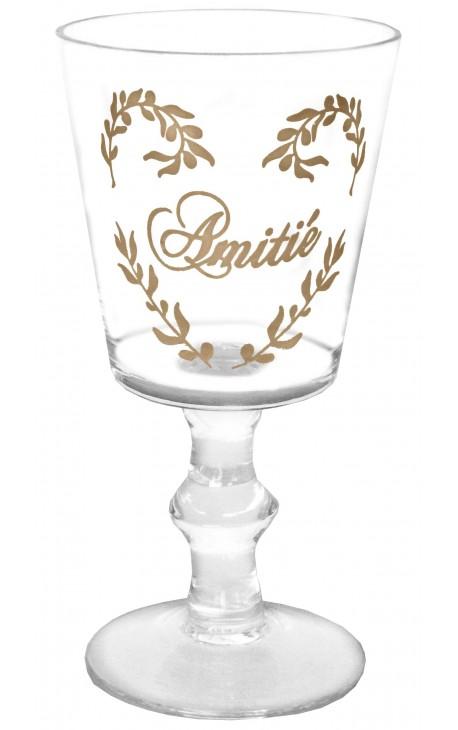 """Verre transparent décors floral sérigraphié inscription """"Amitié"""""""