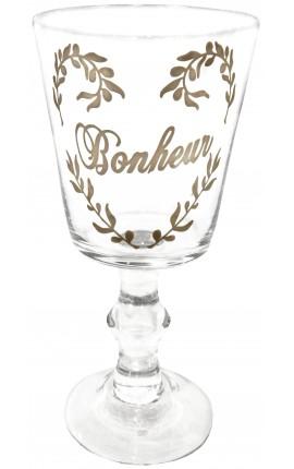 "Transparent glass decorations floral silkscreened inscription ""Bonheur"""