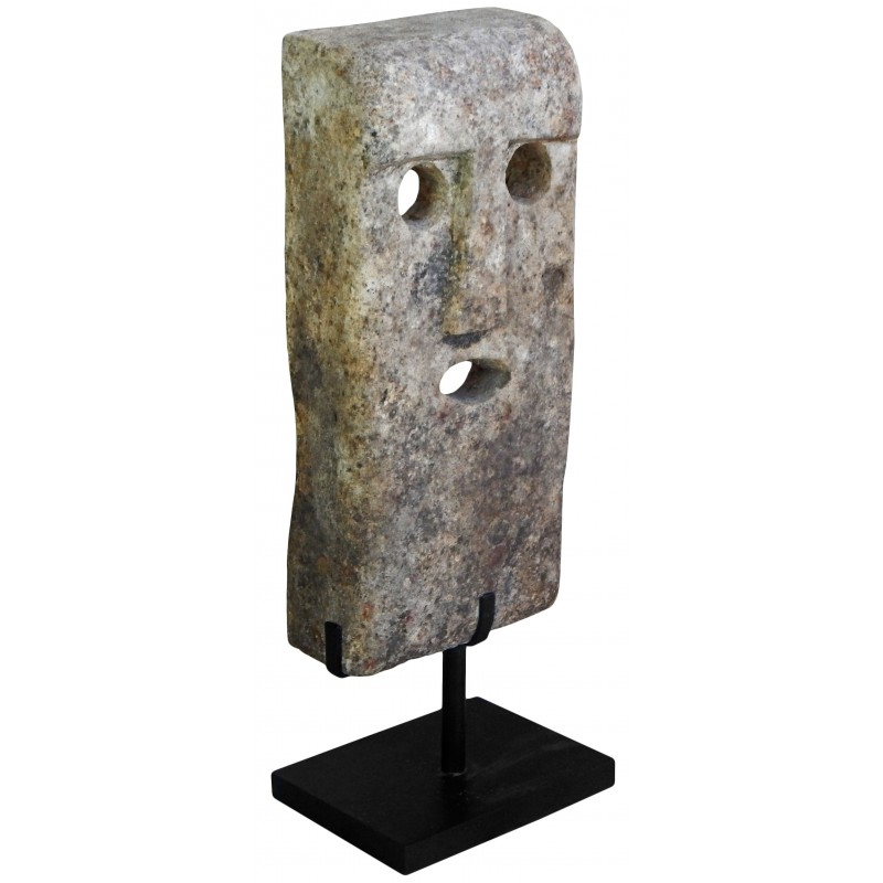 Large Stone Mask Sculpture Mounted On A Metal Stand