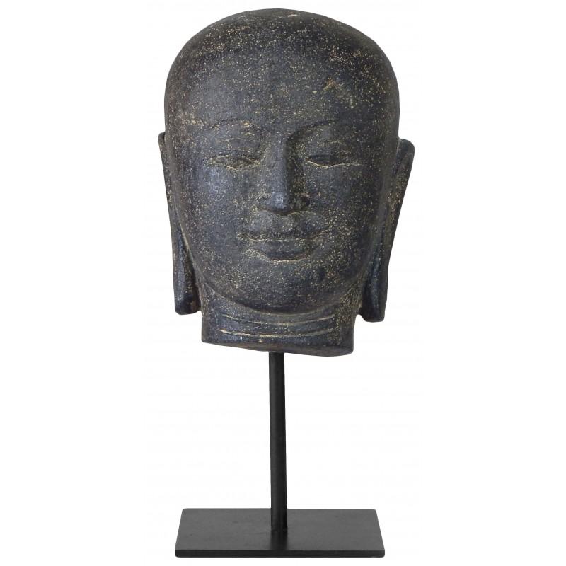 sculpture de t te de bouddha mont e sur un socle m tallique. Black Bedroom Furniture Sets. Home Design Ideas