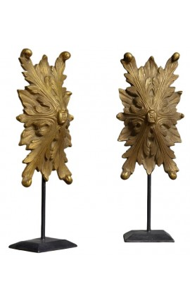Paire de décoration en bronze avec feuille d'acanthe