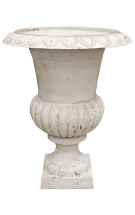 Large vase Medicis white cast iron
