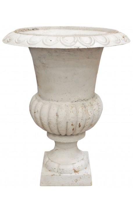 Large vase Medicis white cast iron