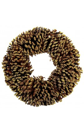 Pine cone wreath with glitter
