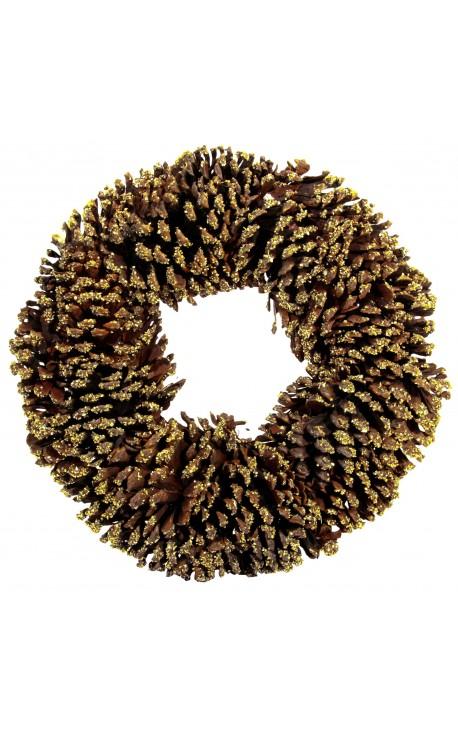 Pine cone wreath with glitter