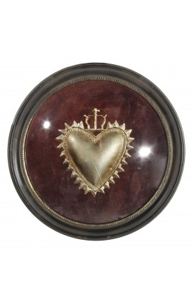 "Round frame ""Ex-Voto"" with serrated heart"