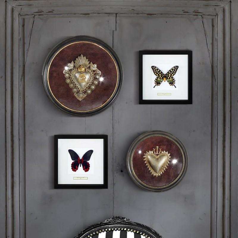 Cadre rond ex voto avec coeur dentel et couronne for Coeur couronne et miroir