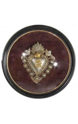 "Large round frame ""Ex-Voto"" with metal heart"