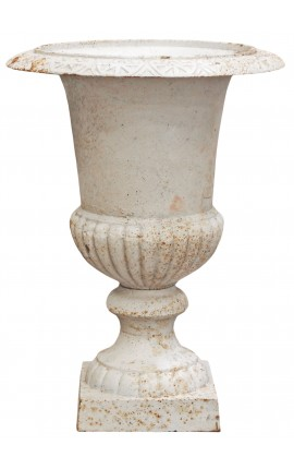 Large vase Medicis white cast iron (67 Cms)
