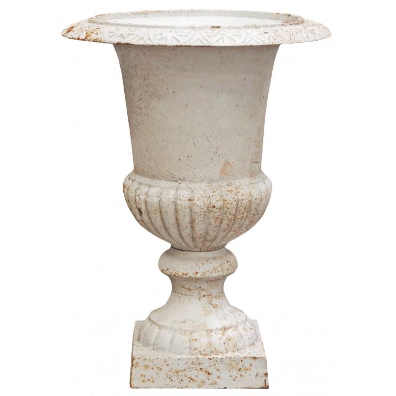 grand vase m dicis en fonte blanc 67 cms. Black Bedroom Furniture Sets. Home Design Ideas