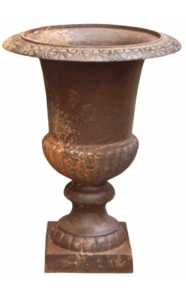 Large vase Medicis cast iron raw patina (67 Cms)