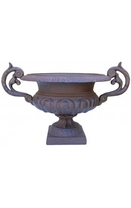 Medici vase iron cast with handles dark color