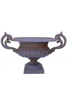 Vase médicis en fonte avec anses brut patiné