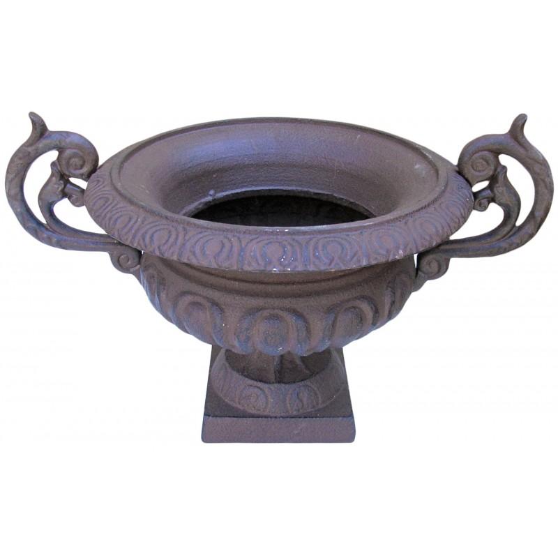 Medici vase iron cast with handles dark color