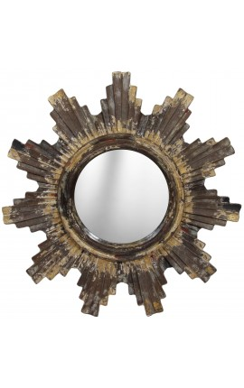 Miroir soleil en bois et stuc, parsemé de poudre d'or