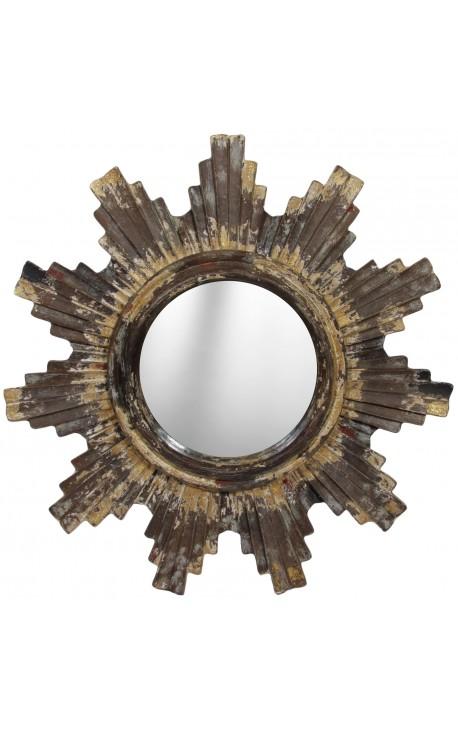 Miroir soleil en bois et stuc parsem de poudre d or for Miroir soleil bois