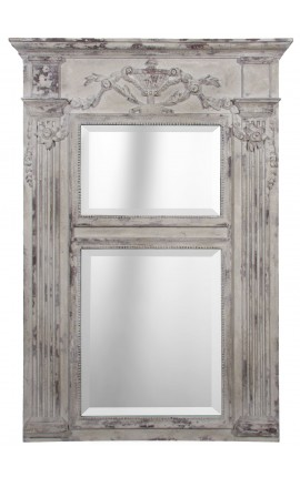 Wooden pierglass mirror and aged white stucco