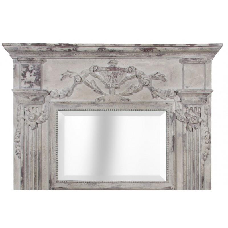 Miroir trumeau en bois et stuc vieilli blanc avec 2 miroirs for Miroir cadre blanc