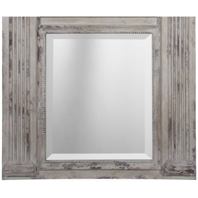 Miroir trumeau en bois et stuc vieilli blanc avec 2 miroirs for Miroir vieilli