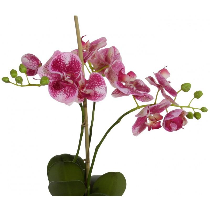 Orchid e phalaenopsis mauve en tissu dans son pot gris for Objet deco mauve
