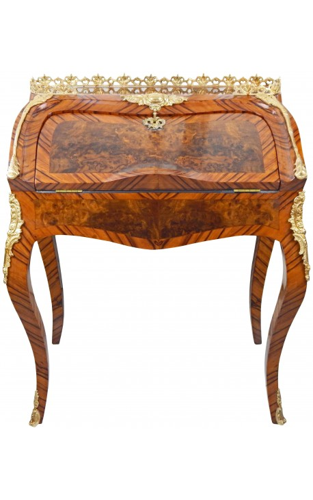 Desk Scriban Louis XV style marquetry and bronze