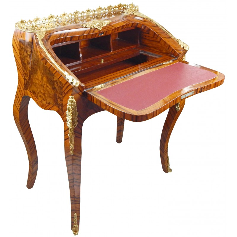 bureau scriban de style louis xv avec marqueterie et bronzes. Black Bedroom Furniture Sets. Home Design Ideas
