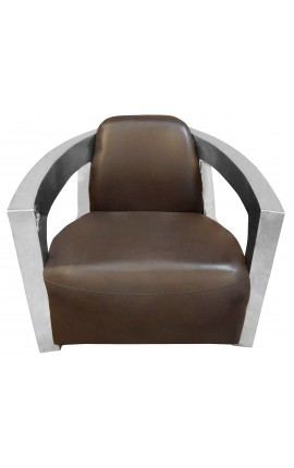 Armchair stainless steel design model Mars with brown leather