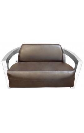 Canapé design en inox modèle Mars avec cuir marron