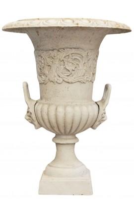 Vase Médicis beige en fonte avec anses