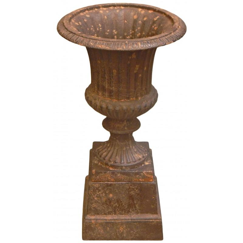 Vase medicis effet rouill patin en fonte de fer sur socle - Nettoyer rouille sur fonte ...
