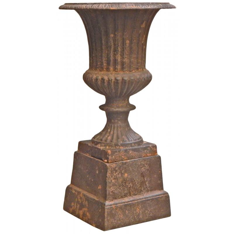 Vase medicis effet rouill patin en fonte de fer sur socle - Nettoyer rouille sur fer ...