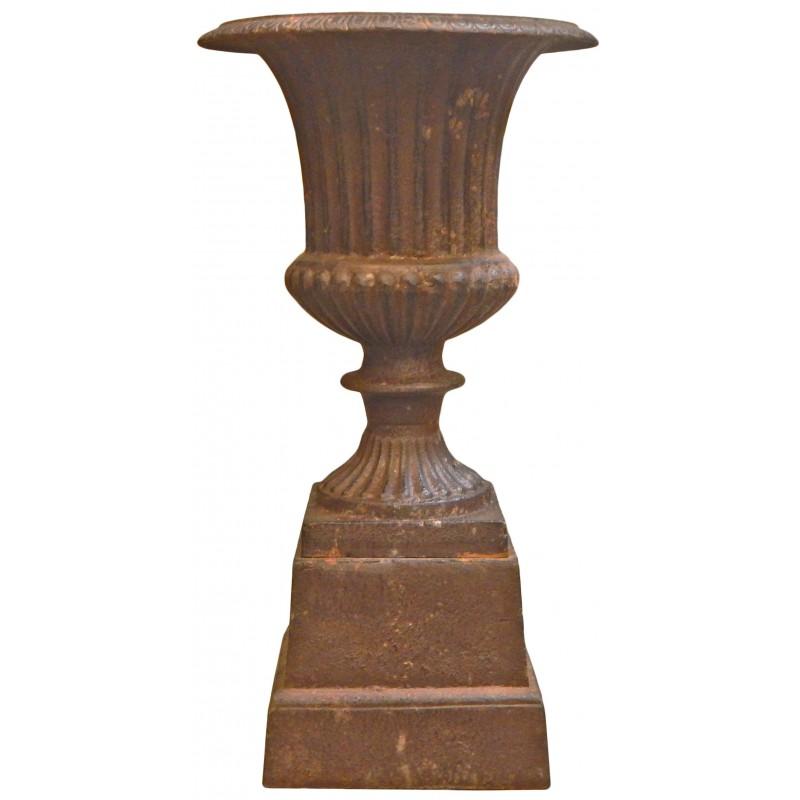 Vase medicis effet rouill patin en fonte de fer sur socle - Enlever rouille sur fonte ...