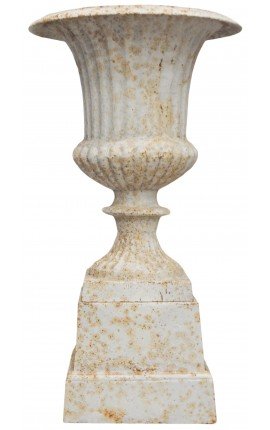Medicis vase beige patinated on pedestal