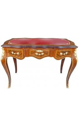 Louis XV стиль стол с 3 ящиками с инкрустацией красного блокнота