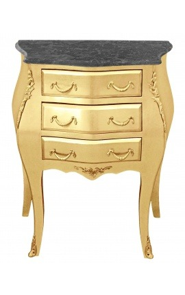 Bedside (nighstand) baroque wooden gold chest with black marble
